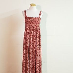 Style & Co XL Red Pink Smocked Floral maxi dress